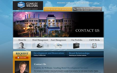 Screenshot of Contact Page cwhotels.com - Contact Coakley Williams Hotel Development Company - captured Sept. 23, 2014