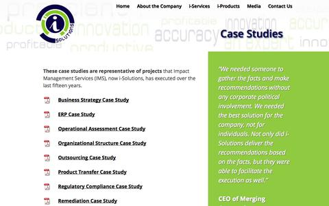 Screenshot of Case Studies Page i-solutionsco.com - Case Studies   i-Solutions - captured Oct. 6, 2014