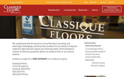 Screenshot of Contact Page classiquefloors.com - : Contact Us | Portland, Oregon | 503-255-6775 | - captured Jan. 28, 2016