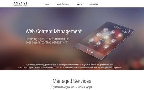 Screenshot of Home Page assyst-international.com - Web Content Management & Branding | Connectin - captured Feb. 1, 2017