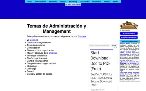 Screenshot of eco-finanzas.com - Temas de Administración y Management - captured Jan. 8, 2018