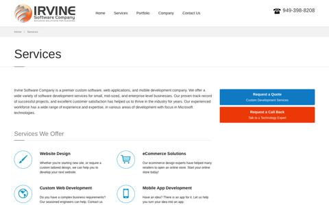 Screenshot of Services Page irvinesoftwarecompany.com - Website design, eCommerce, Mobile app development service - Irvine Software Company - captured Nov. 6, 2018