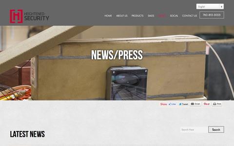 Screenshot of Press Page hs-usa.com - News - Heightened Security - captured Nov. 2, 2014
