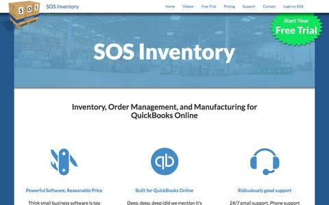 Screenshot of Home Page sosinventory.com - SOS Inventory: Inventory, Order Management, and Manufacturing for QuickBooks Online - SOS Inventory - captured June 29, 2017