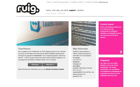 Screenshot of Support Page ruig.com - Support - captured Oct. 26, 2014