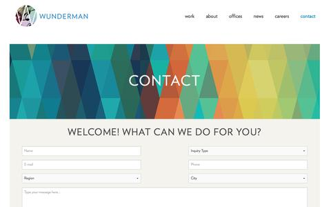 Screenshot of Contact Page wunderman.com - Contact | Wunderman - captured Feb. 3, 2016