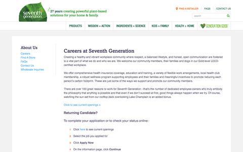 Screenshot of Jobs Page seventhgeneration.com - Careers At Seventh Generation | Seventh Generation - captured Jan. 20, 2017