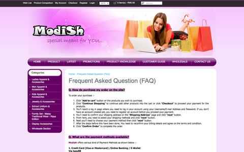 Screenshot of FAQ Page modish.com.my - Frequent Asked Question (FAQ) - captured May 29, 2016