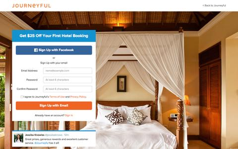 Screenshot of Signup Page journeyful.com - Journeyful | Book Online. Earn Rewards - captured Aug. 5, 2015