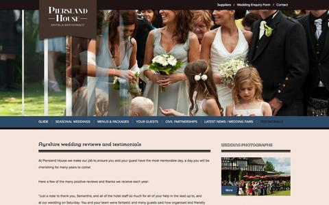 Screenshot of Testimonials Page ayrshireweddingvenue.com - Ayrshire wedding venue testimonials and reviews, reviews of top country house wedding venues in Ayrshire - captured April 18, 2016