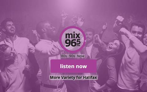 Screenshot of Home Page mix965.ca - Mix 96-5 - 80s 90s Now - captured July 5, 2018