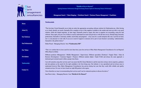 Screenshot of Testimonials Page bmdubai.com - Blue Marin Management Consultancies | Testimonials - captured Oct. 5, 2014