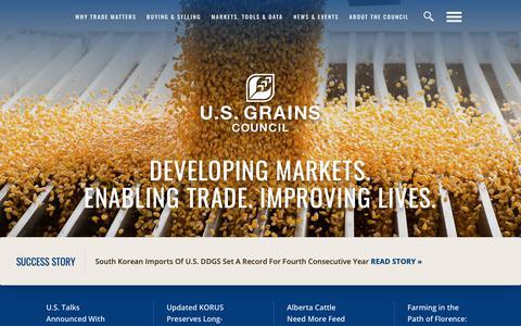 Screenshot of Home Page grains.org - Home - U.S. GRAINS COUNCIL - captured Sept. 30, 2018