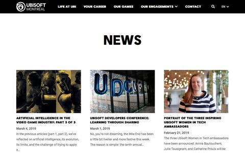Screenshot of Press Page ubisoft.com - News - Ubisoft Montréal - captured Nov. 8, 2019