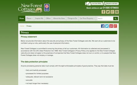 Screenshot of Privacy Page newforestcottages.co.uk - Privacy statement - captured Nov. 5, 2014