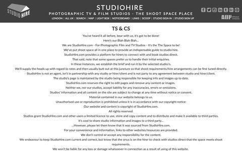 Screenshot of Terms Page studiohire.com - STUDIOHIRE - Ts & Cs - captured Oct. 1, 2018