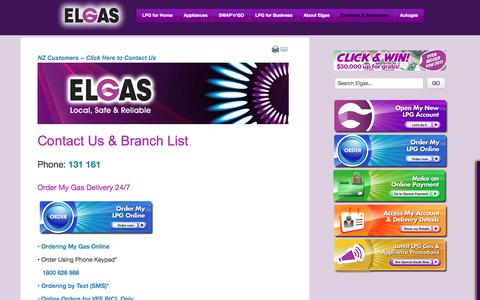 Screenshot of Contact Page elgas.com.au - Elgas Contact Us - Contact Phone Numbers - All Locations | ELGAS - LPG Gas for Home & Business - captured July 28, 2017