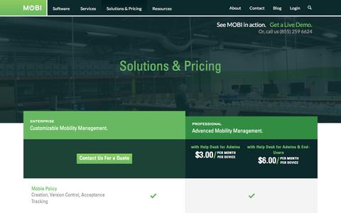 Screenshot of Pricing Page mobiwm.com - Solutions and Pricing | MOBI - captured Jan. 6, 2016