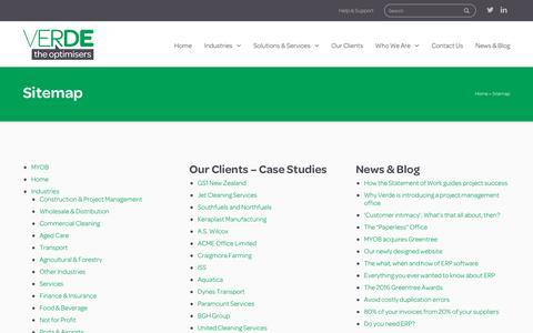 Screenshot of Site Map Page verde.co.nz - Sitemap - Verde - captured Dec. 2, 2016