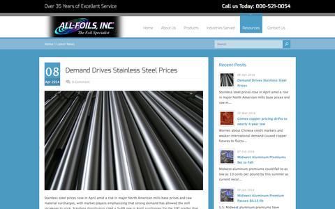 Screenshot of Press Page allfoils.com - Latest News Archives - All Foils, Inc. - captured Nov. 16, 2016