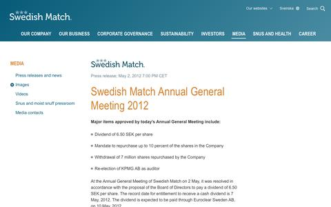 Screenshot of Press Page swedishmatch.com - Swedish Match - Swedish Match Annual General Meeting 2012 - captured Nov. 1, 2018