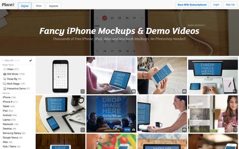 Screenshot of Home Page placeit.net - Free iPhone Mockup Generator & App Demo Videos by Placeit - captured Feb. 20, 2016