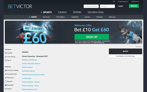 Screenshot of Jobs Page betvictor.com - Sports - Careers - BetVictor - captured Nov. 20, 2017