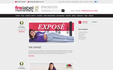 Screenshot of Blog firelabel.co.uk - Blog | Fire Label Merchandising - captured Oct. 10, 2014