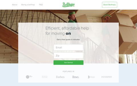 Screenshot of Home Page getbellhops.com - Home | Bellhops - captured March 17, 2016