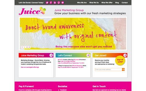 Screenshot of Home Page juicemarketinggroup.com - Juice Marketing Group. Marketing Agency for the Interior Design Community. - captured Sept. 30, 2014