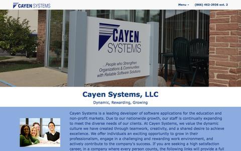 Screenshot of Jobs Page cayen.net - Cayen Systems Careers - captured Nov. 2, 2016