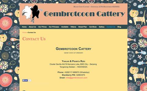 Screenshot of Contact Page gembrotcoon.com - Contact - Gembrotcoon Cattery | Maine Coon Cattery - Indonesia - captured Oct. 6, 2014