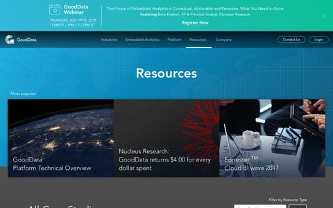 Screenshot of Case Studies Page gooddata.com - Resources - captured July 4, 2018