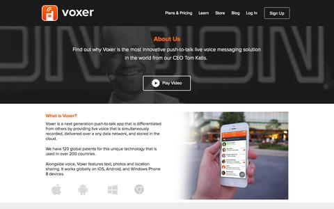 Screenshot of About Page voxer.com - Voxer | About - captured Sept. 17, 2014