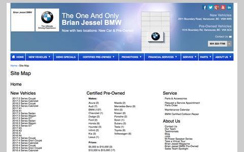 Screenshot of Site Map Page brianjesselbmw.com - Site Map | Brian Jessel BMW - captured Jan. 11, 2017