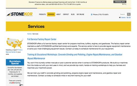 Screenshot of Services Page stonekor.com - STONEKOR Full Service Repair For Propane Equipment - captured Dec. 20, 2015