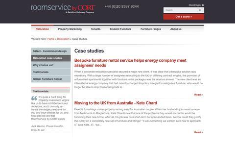 Screenshot of Case Studies Page roomservicebycort.com - Case studies - captured Oct. 7, 2014