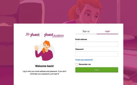 Screenshot of Login Page yoast.com - Login – MyYoast - captured Nov. 20, 2019