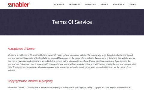 Screenshot of Terms Page nabler.com - Terms of Service - Digital Analytics Consulting Company | nabler.com - captured Dec. 13, 2019