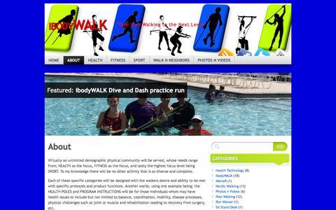 Screenshot of About Page ibodywalk.com - About | ibodyWALK - captured Jan. 9, 2016