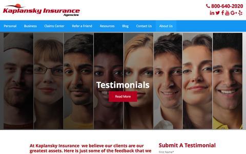 Screenshot of Testimonials Page kaplansky.com - Testimonials - Kaplansky Insurance - captured Nov. 27, 2016