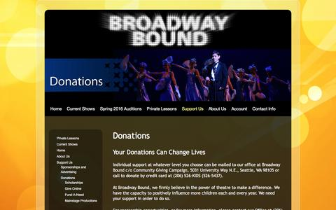 Screenshot of Support Page broadwaybound.org - Donations | Broadway Bound - captured Feb. 8, 2016