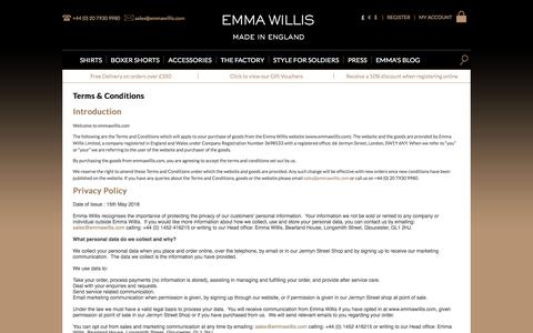 Screenshot of Privacy Page FAQ Page Terms Page emmawillis.com - Terms & Conditions | Emma Willis - captured Sept. 24, 2018