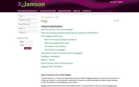 Screenshot of FAQ Page kjamson.com - FAQ - K.Jamson - captured Nov. 1, 2014