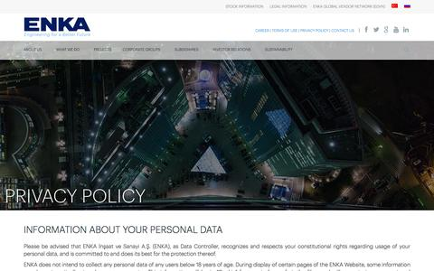 Screenshot of Privacy Page enka.com - Privacy Policy | ENKA İnşaat ve Sanayi A.Ş. - captured June 3, 2018