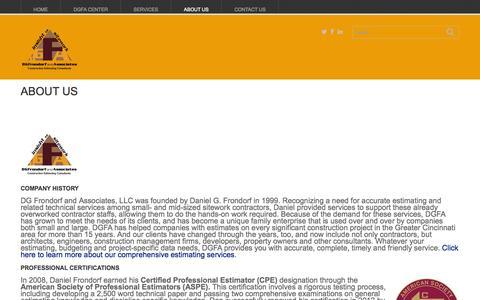 Screenshot of About Page dgfrondorf.com - About Us - DGFA llcDGFA llc - captured Oct. 5, 2014