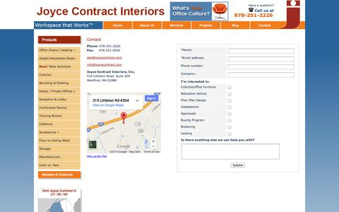 Screenshot of Contact Page Maps & Directions Page joycecontract.com - Boston New and Used Office Furniture and Cubicles: Contact Us - captured Oct. 23, 2014