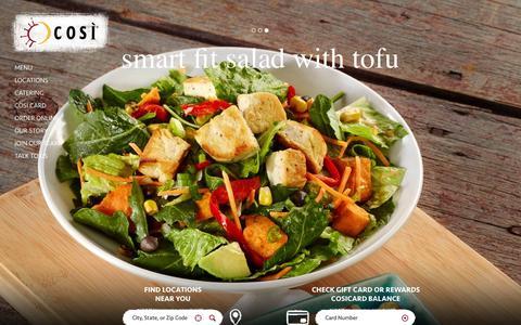 Screenshot of Home Page getcosi.com - Così - captured Oct. 1, 2015