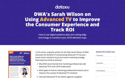 Screenshot of Landing Page dataxu.com - DWA's Sarah Wilson on Using Advanced TV to Improve the Consumer Experience and Track ROI - captured April 26, 2018