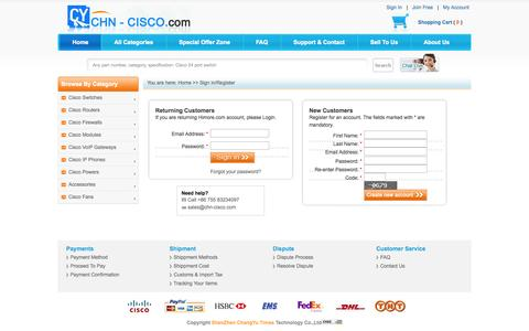 Screenshot of Login Page chn-cisco.com - Sell and Buy New Used Cisco Switches, Routers, Firewalls, Modules and IP phones. - captured Oct. 26, 2014